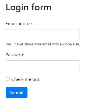 Login form page image